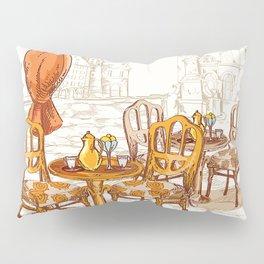 Street Cafe Sketch Pillow Sham