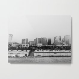 Back Side of the Bellagio // Las Vegas Strip City Landscape Cloudy Snow Day Foggy Raw Photograph Metal Print