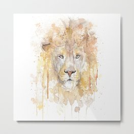 """Watercolor Painting of Picture """"African Lion"""" Metal Print"""