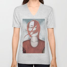 redhead girl with tatoo Unisex V-Neck