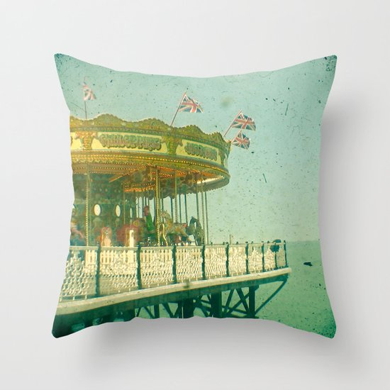 Carousel by the Sea Throw Pillow