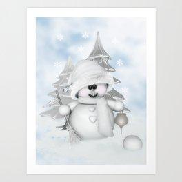 White Snowman Art Print
