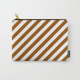 Diagonal Stripes (Brown/White) Carry-All Pouch