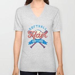Funny Softball Hair Don't Care Baseball Sport Gift Unisex V-Neck