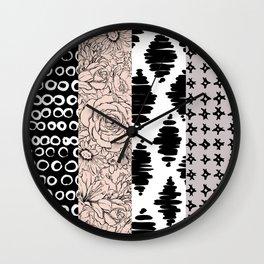 Vertical Stripe Patchwork Pattern Wall Clock