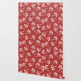 Berry Christmas Pattern, red background Wallpaper