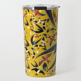 Swallows Martins and Swift pattern Yellow Travel Mug