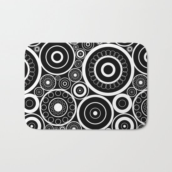 Abstract black and white pattern. Bath Mat