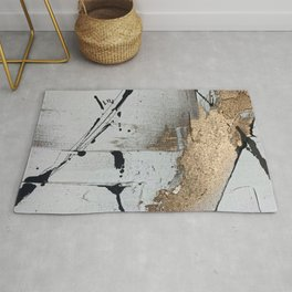 Still: an abstract mixed media piece in black, white, and gold by Alyssa Hamilton Art Rug