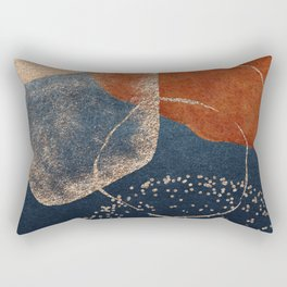 Mid Century Magic Minimalist Watercolor Painting Neutral Warm Autumn Tones Blue Orange Terracotta Bohemian Boho Rectangular Pillow