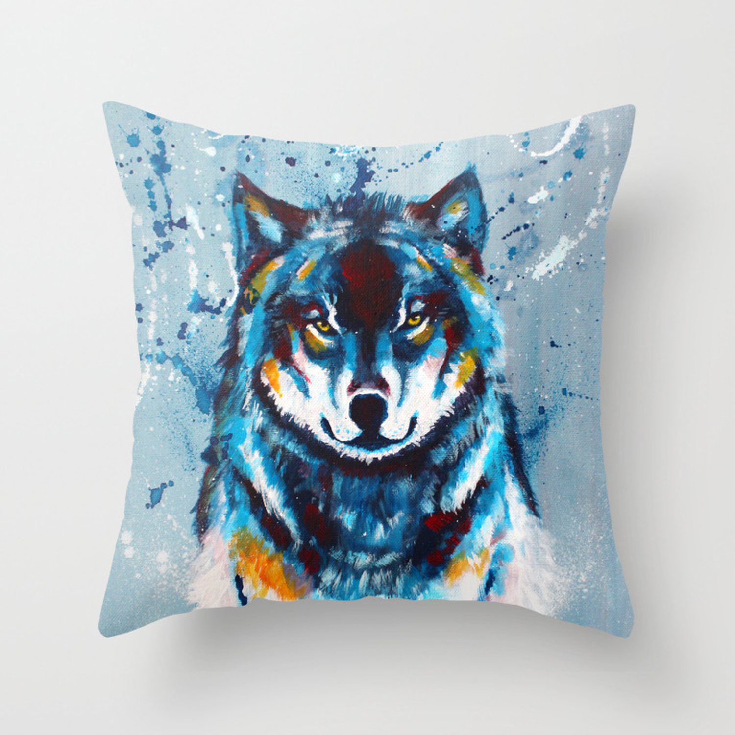 Wise And Wild Wolf Acrylic Painting Throw Pillow By Floartstudio Society6