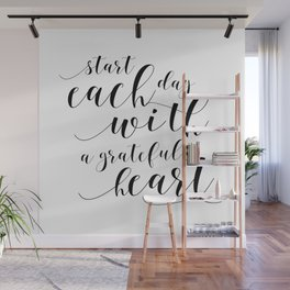 HOME OFFICE DESK, Start Each Day With A Grateful Heart,Office Sign,Quote Prints,Motivational Poster Wall Mural