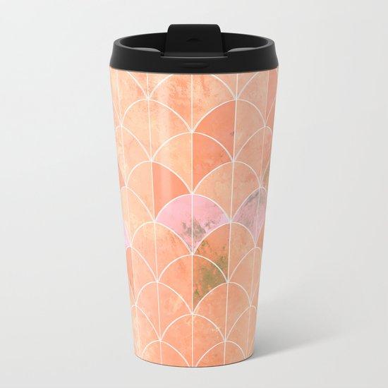 Mermaid scales. Peach and pink watercolors. Metal Travel Mug