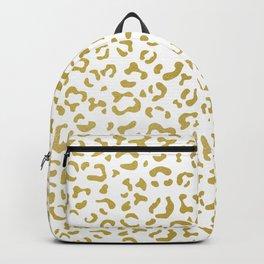 Animal Print, Leopard Spots, Glitter - Gold White Backpack
