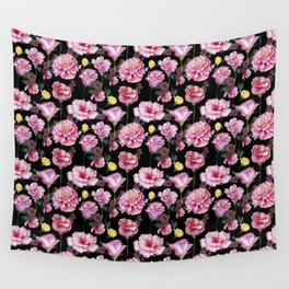 Pink and Yellow Rose Pattern On Black Wall Tapestry
