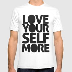 LOVE YOURSELF MORE SMALL Mens Fitted Tee White
