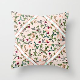 delicate floral and leaves scarf print Throw Pillow