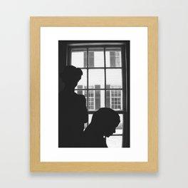 Silhouettes In Window Framed Art Print