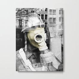 Gas mask overprinted Metal Print