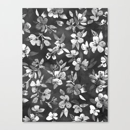 Blossoms on Charcoal Ink Canvas Print