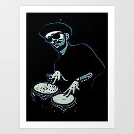 Bongo Beatin' Beatnik (Blue) Art Print