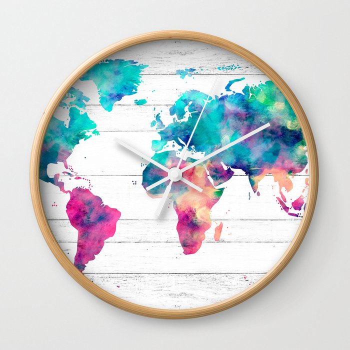 World Map Watercolor Paint On White Wood Wall Clock
