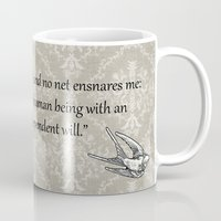 jane eyre Mugs featuring Jane Eyre: I am no bird by AfterThisChapter