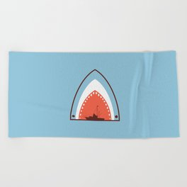 Great White Attack Beach Towel