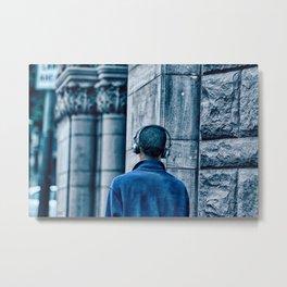 Man headset blue Metal Print