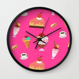 Cute Summer Foods On Pink Ice Cream Coffee Sandwiches Cake Wall Clock