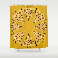 pizza Shower Curtains featuring pizza by ValoValo