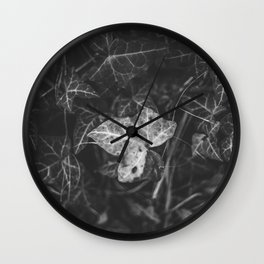 A white leaf in the dark garden leaves Wall Clock