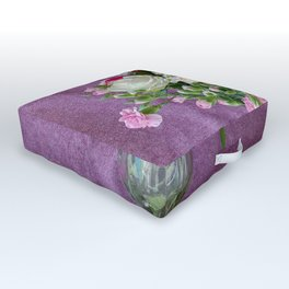 Flowers in a vase - pink gerberas, carnations, daisies, red and white roses Outdoor Floor Cushion