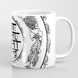 Square - Mandala - Mantra - Lokāḥ samastāḥ sukhino bhavantu - White Black Coffee Mug