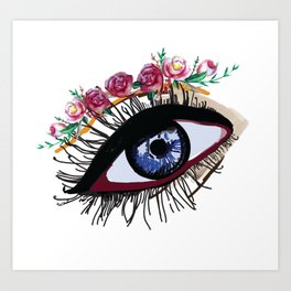 Blue eye & flowers Art Print