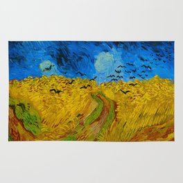 Wheatfield with Crows Oil Painting by Vincent van Gogh Rug
