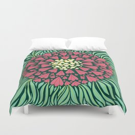 Pink and green florals Duvet Cover