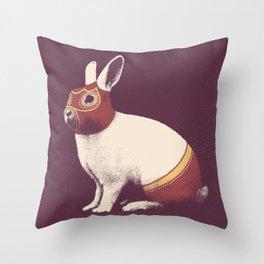 Lapin Catcheur (Rabbit Wrestler) Throw Pillow