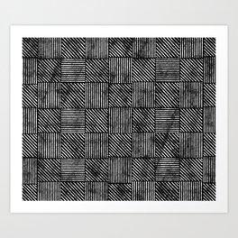 Black and White Distressed Diagonal Lines Pattern Vintage Unique Artistic Style Design Art Print