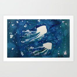 Watercolor Jellyfishes Art Print