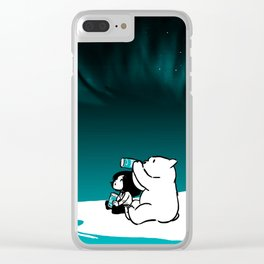 Icelandic bear, aurora borealis Clear iPhone Case