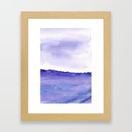 Violet and blue watercolour and ink landscape,english countryside painting Framed Art Print