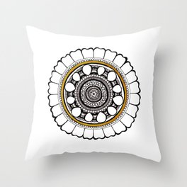 Leo Lion Mandala: Ink and Gold Throw Pillow