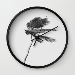 Grey Palm Tree Wall Clock