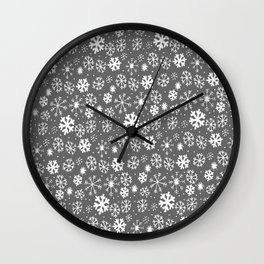 Snowflake Snowstorm With Silver Grey Gray Background Wall Clock