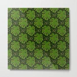 Gold Monstera Leaves in Green Metal Print