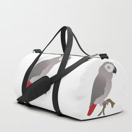 Cute African grey parrot vector Duffle Bag