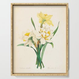 Flower Color Pencil Hand Drawing Serving Tray