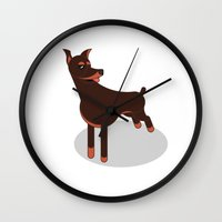 doberman Wall Clocks featuring Doberman by Paul Turcanu