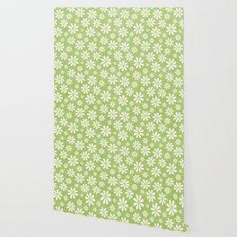DAISIES ON APPLE GREEN Wallpaper